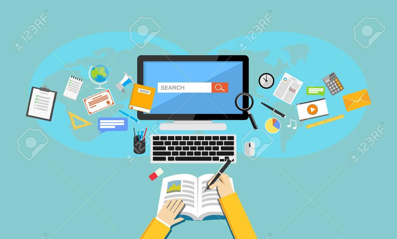 Studying. Flat design illustration of online education or e-learning. - 54531094