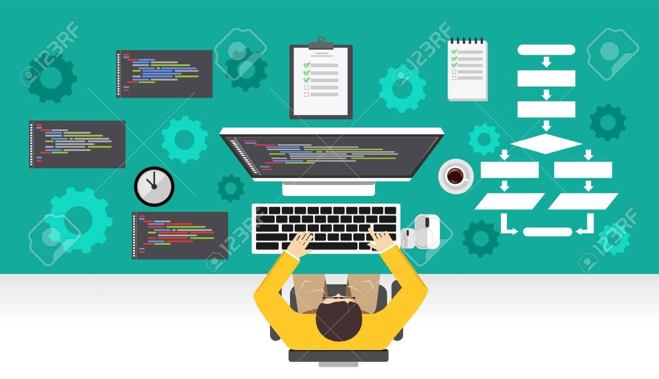 Software development. Programmer working on computer. Programming mechanism concept. - 59777608