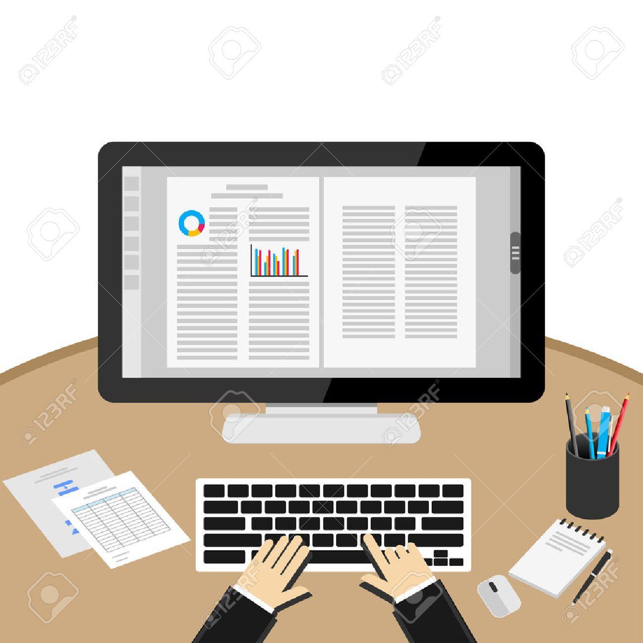 Businessman Using Computer At Desk. Word processor application. - 66897413