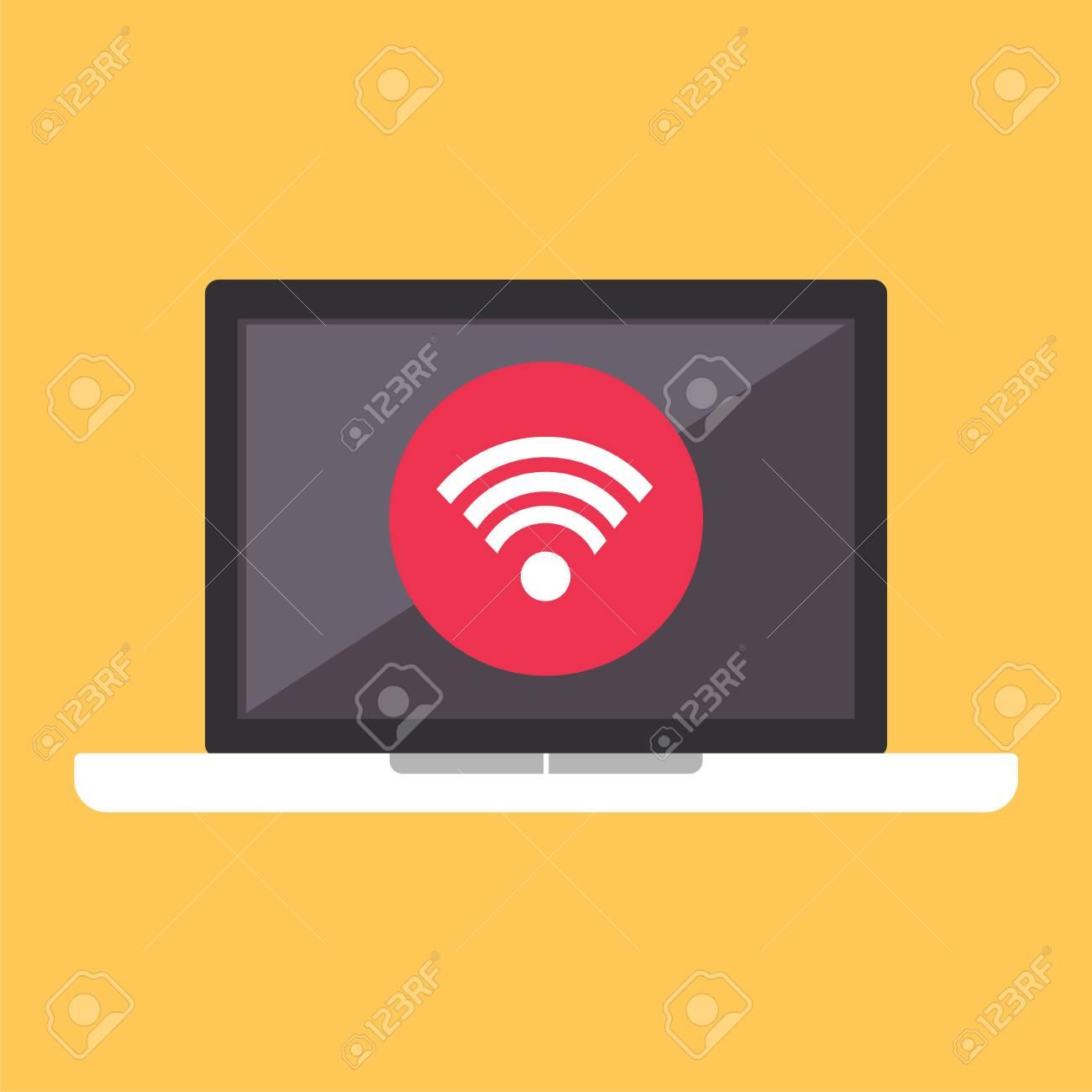 Drahtloses Verbindungskonzept. Drahtlose Verbindung Am Laptop ...