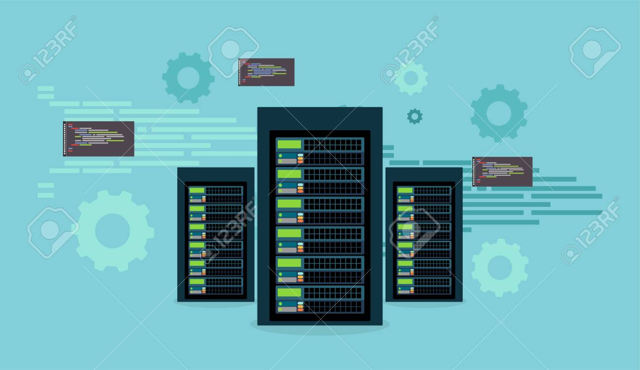 Centro de datos. Base de datos. Cuarto de servicio. Programación de red.