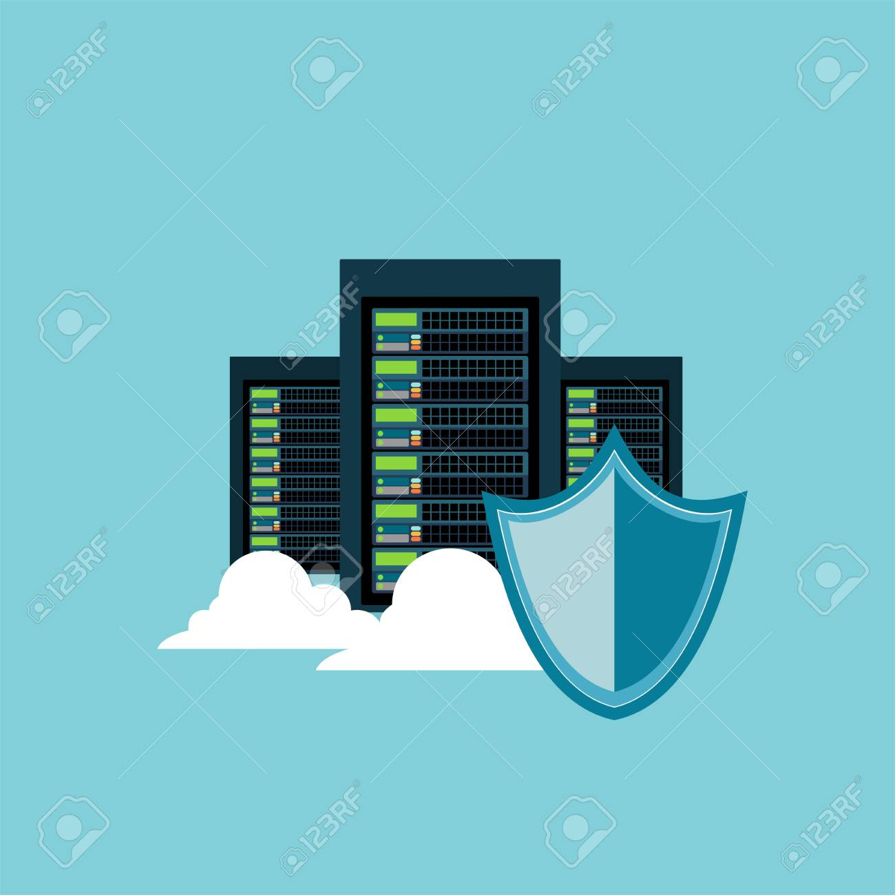 Database Server Security Shield Data Center Protection Internet And Information Privacy Stock Vector