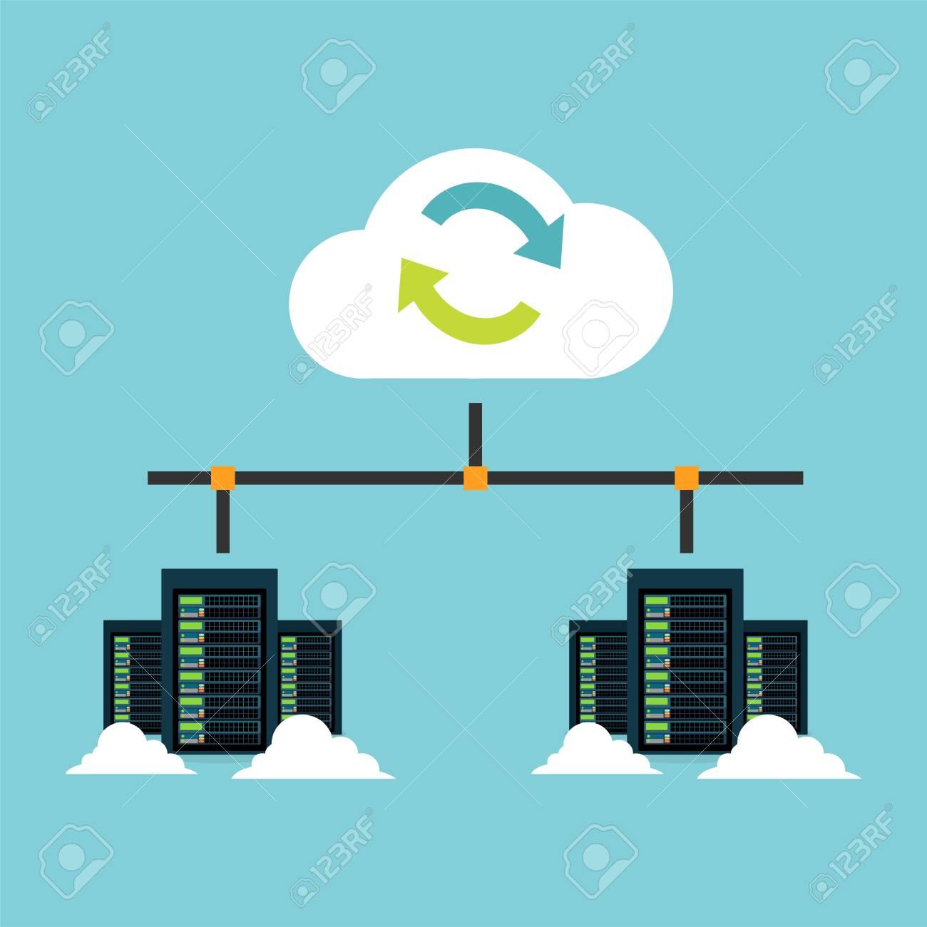 Cloud storage. Data center integration. Synchronize server. Backup. File Sharing concept. - 88424273