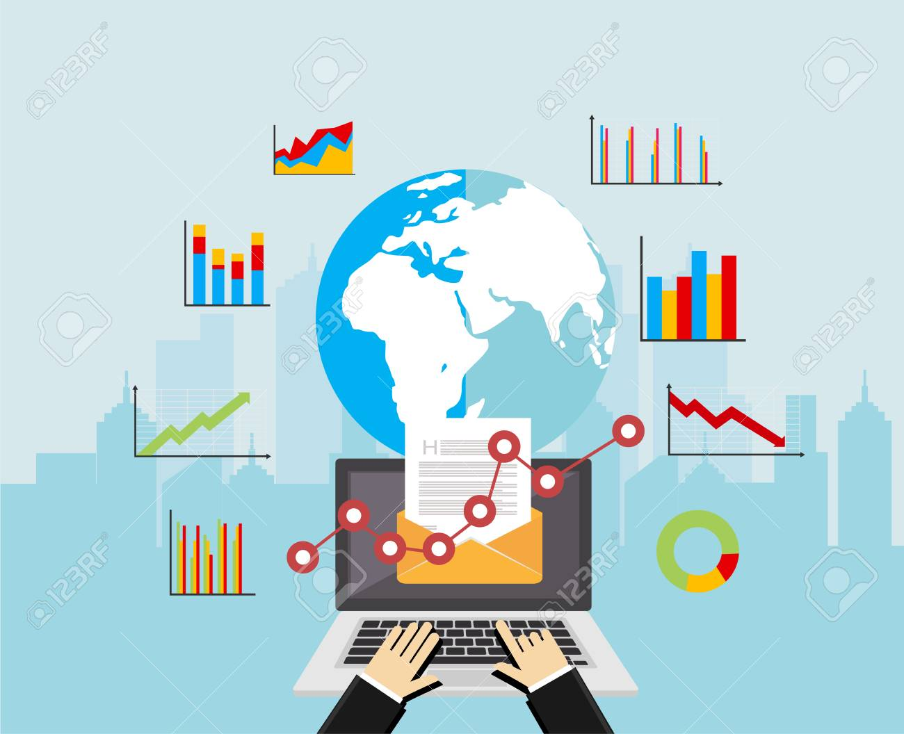 Email marketing. Global market analysis. Business analysis concept illustration. Business background - 88774211