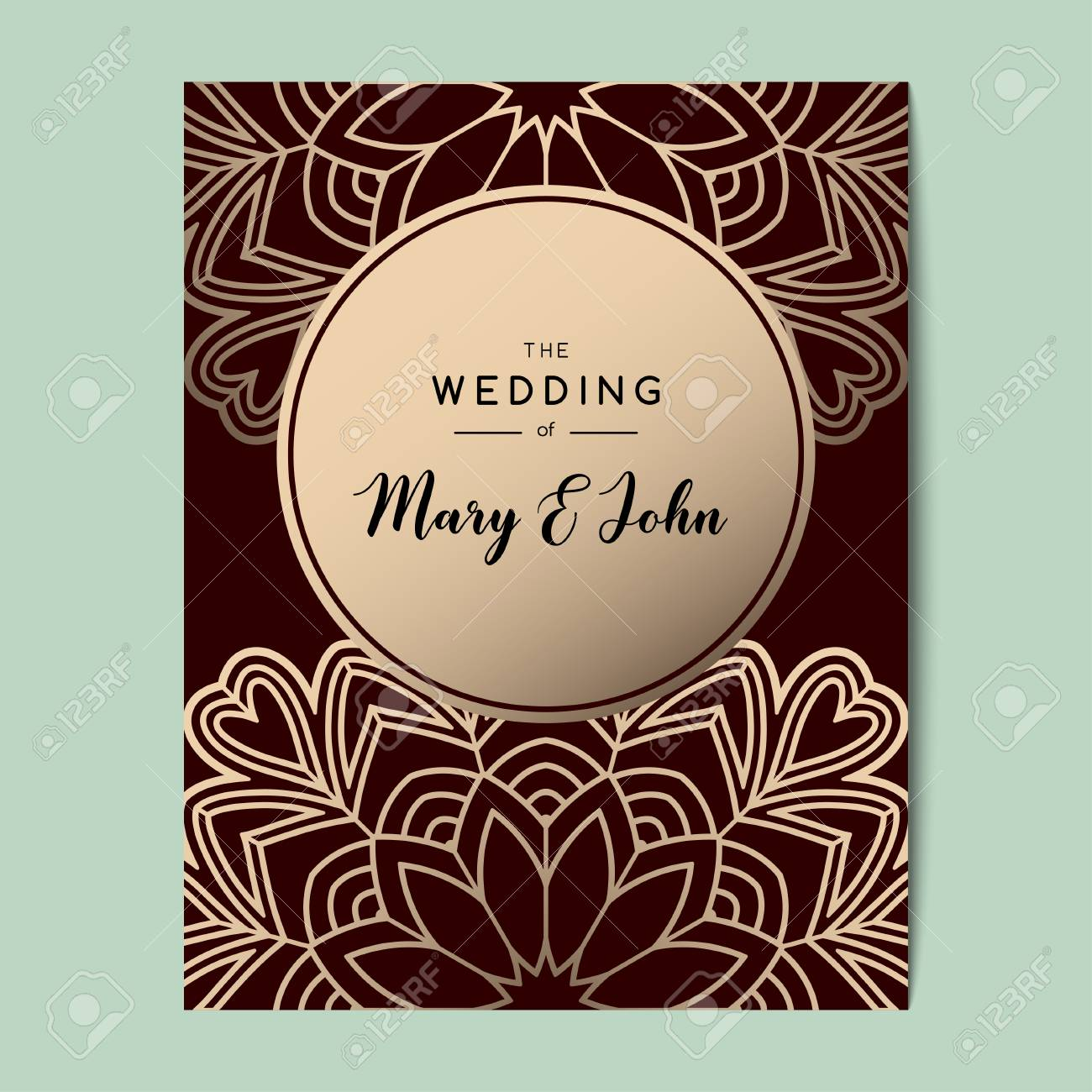 Elegant Wedding Invitation Background Card Design With Floral