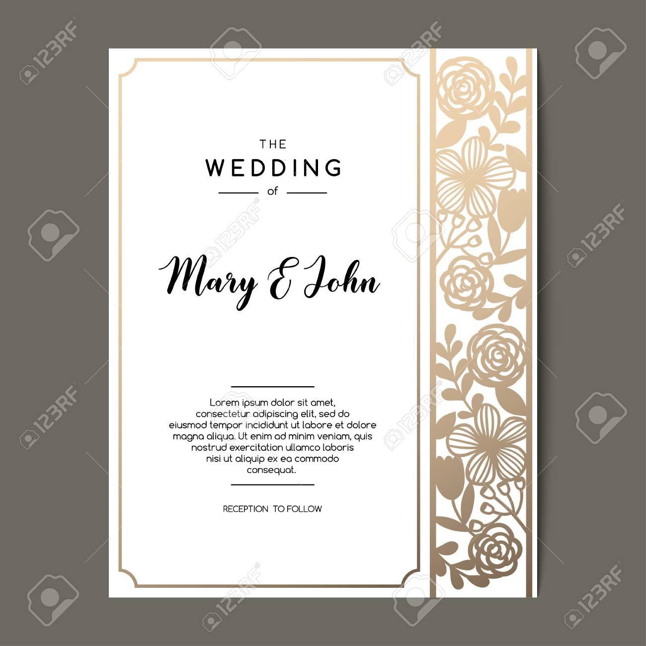 Elegant Wedding Invitation Background With Floral Ornament Vector