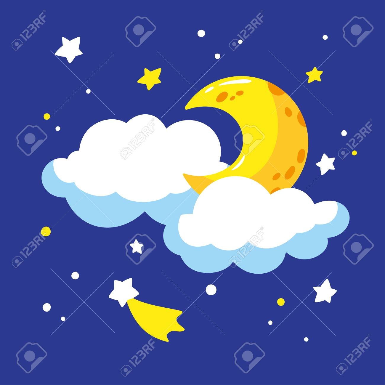 cartoon crescent and clouds in the night sky vector illustration rh 123rf com night sky vector wallpaper free night sky vector illustration