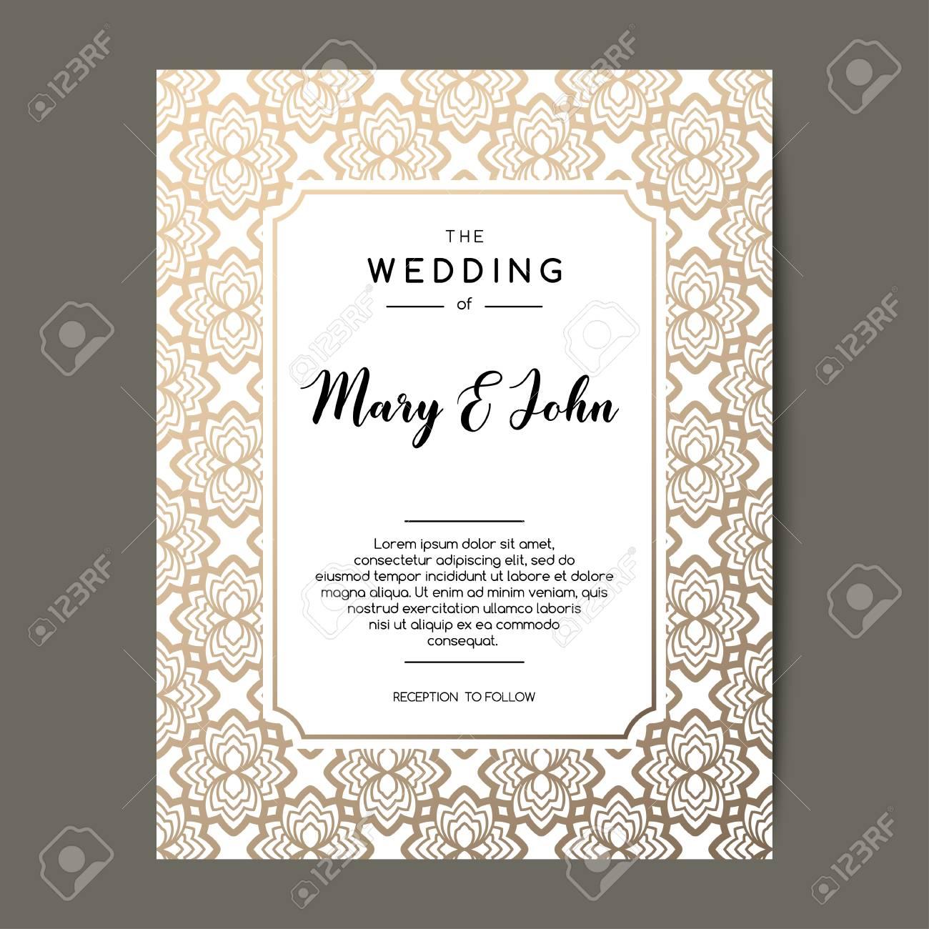 Fancy Wedding Invitations.Elegant Wedding Invitation Background Card Design With Gold