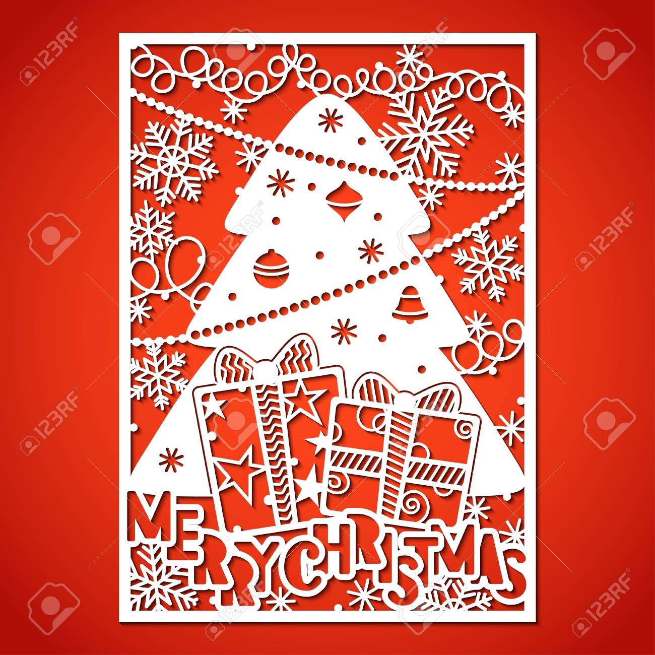 Christmas tree with decorations. Laser Cutting template for greeting cards, envelopes, invitations, interior elements. - 112226681