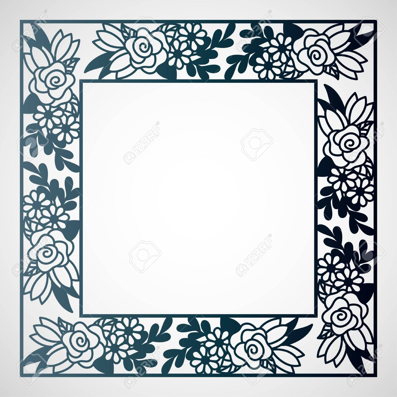Openwork square frame with floral pattern. Laser cutting template for greeting cards, envelopes, wedding invitations. - 123291901