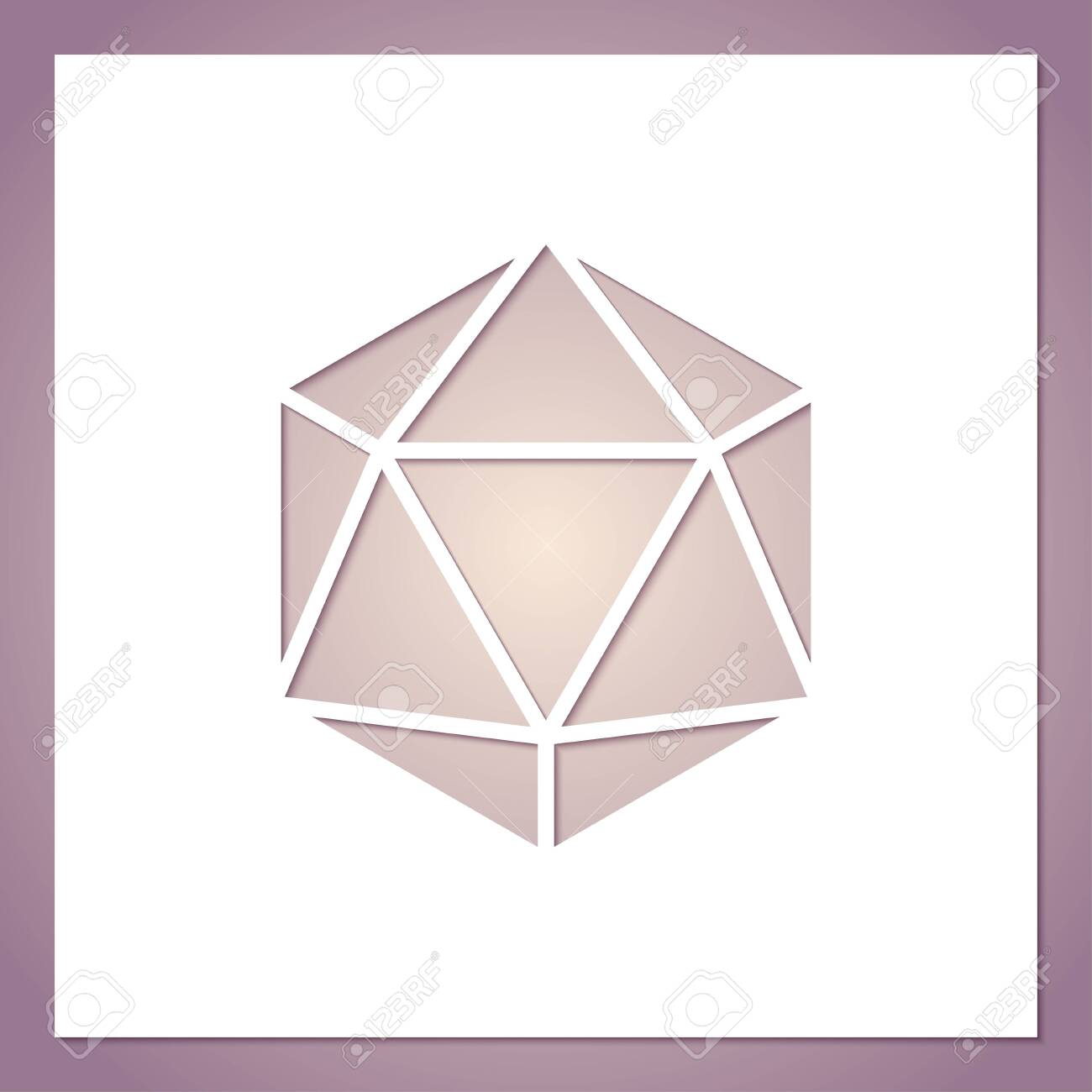 Card with a hole in the form of a geometric figure. Futuristic symmetric polygon. Template for laser or plotter cutting. - 144027836