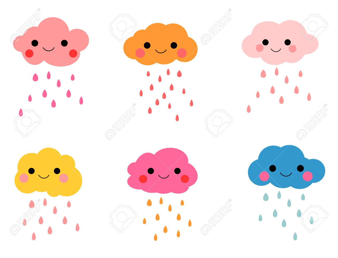 cute colorful rain clouds with smiling faces royalty free cliparts rh 123rf com cartoon rain cloud gif cartoon rain cloud gif