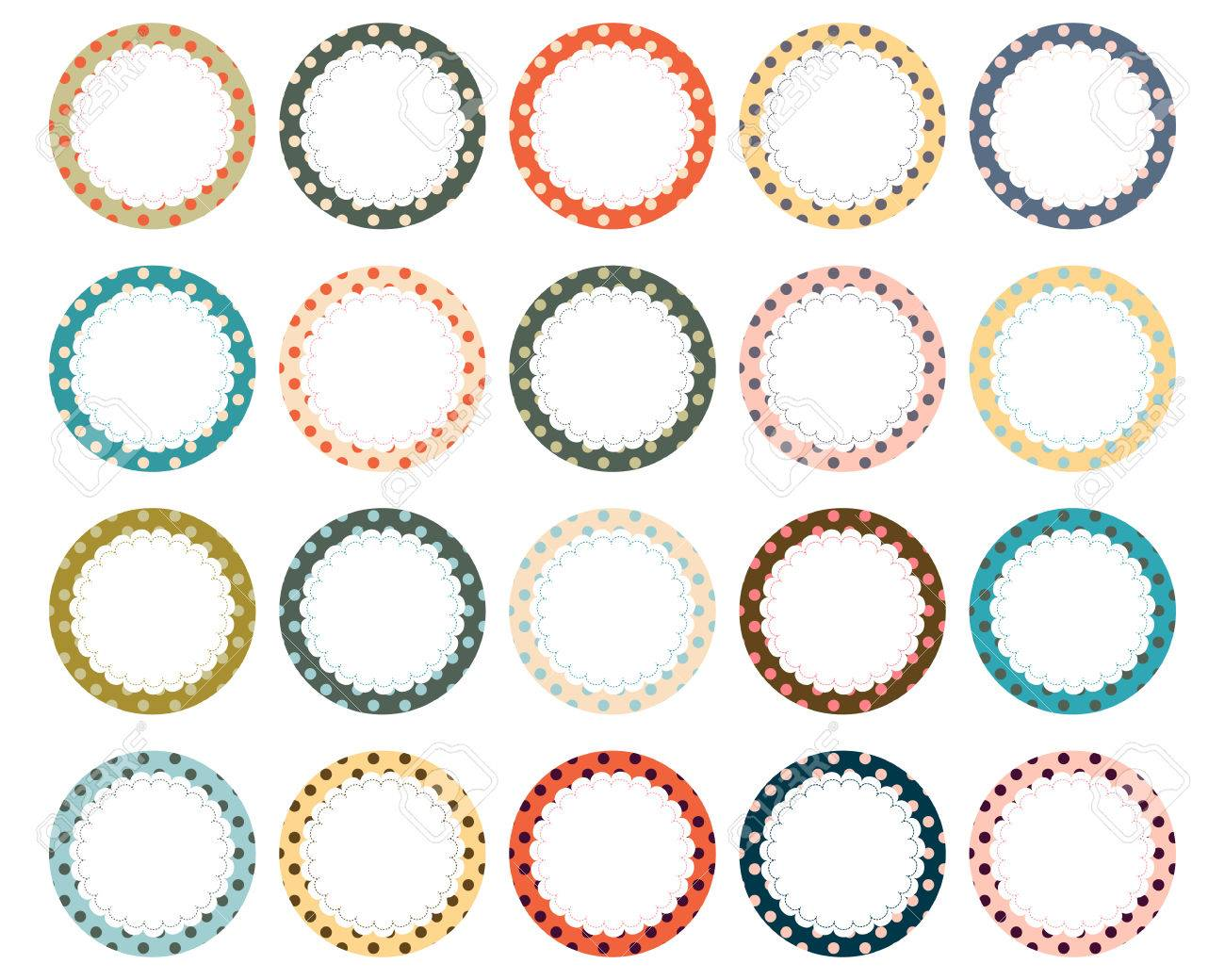Polka Dot Scalloped Label Frame Circles Royalty Free Cliparts ...