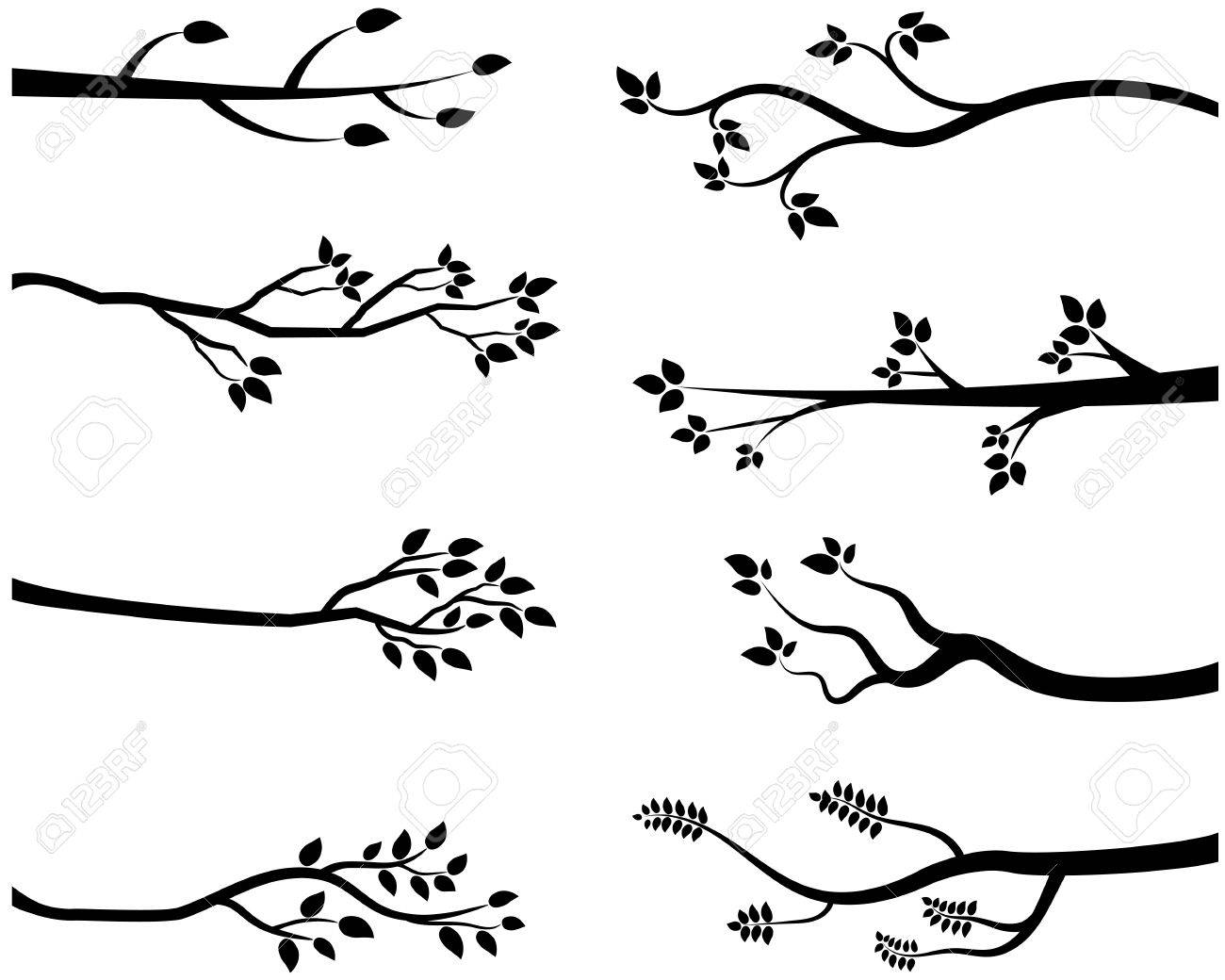 Vector Cartoon Black Tree Branch Silhouettes Royalty Free Cliparts