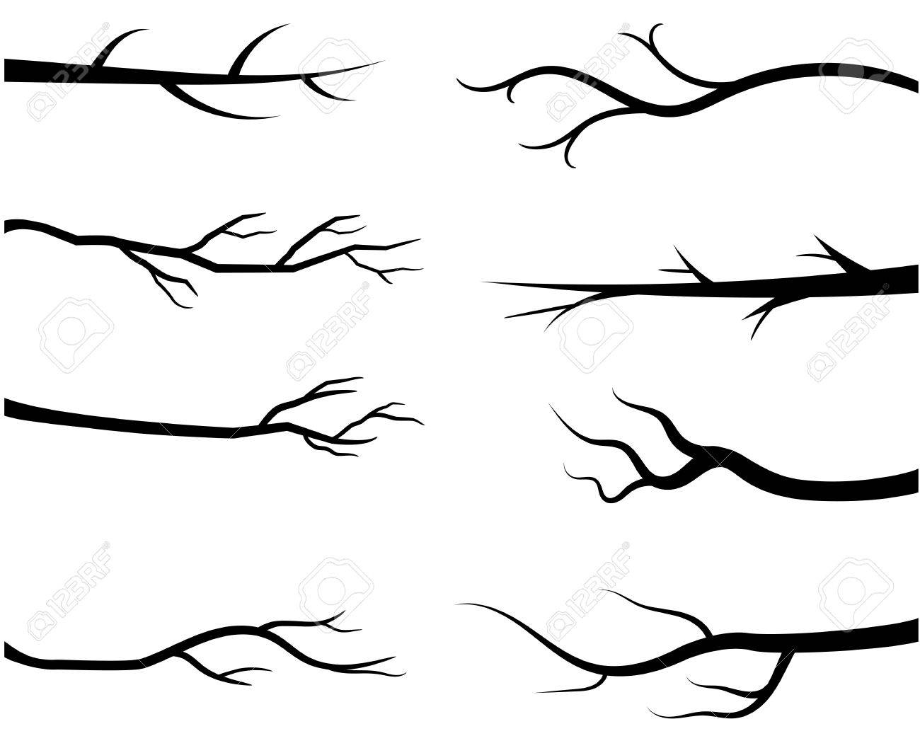 black bare tree branches vector branch silhouettes without leaves rh 123rf com branch vector free download branch vector download