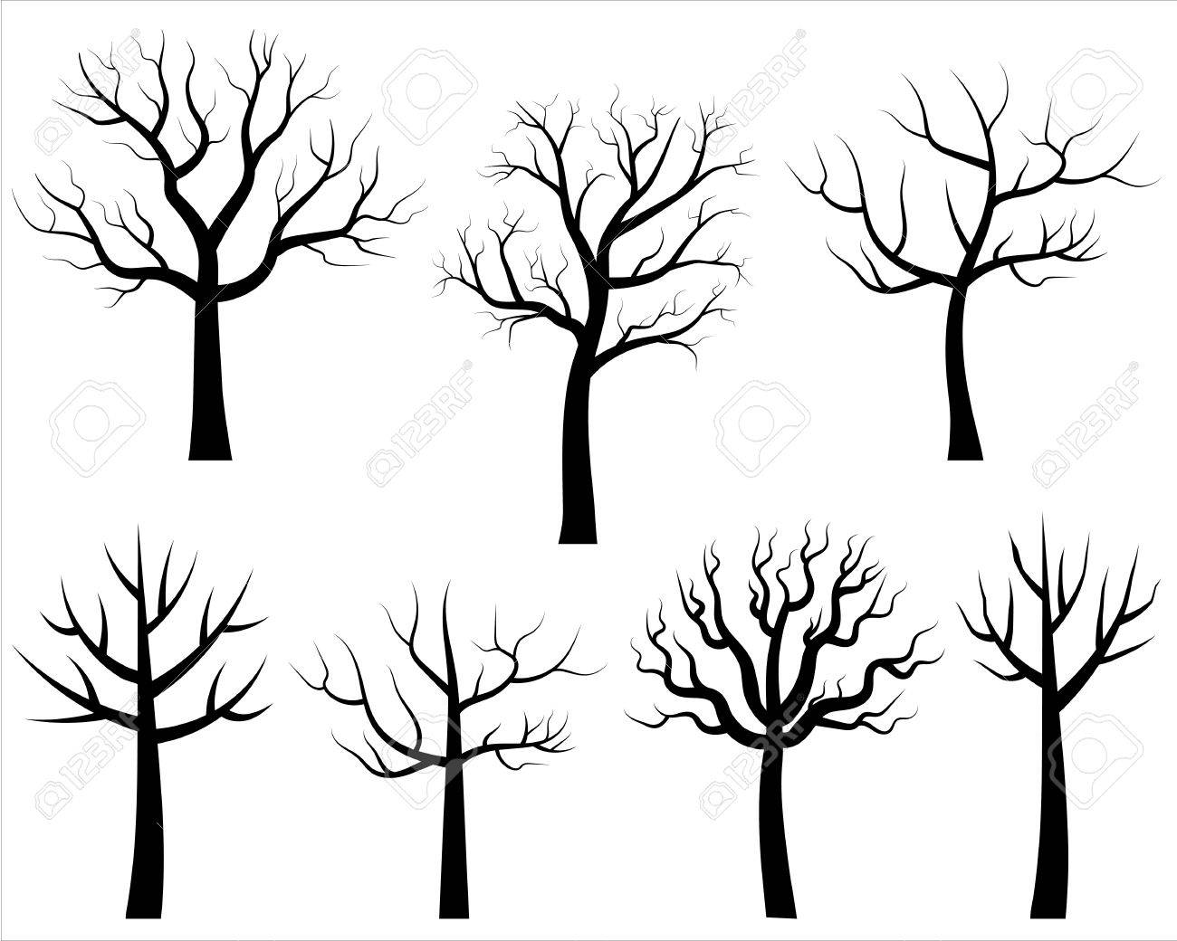 Cartoon Bare Trees In Black Vector Trees Without Leaves Royalty