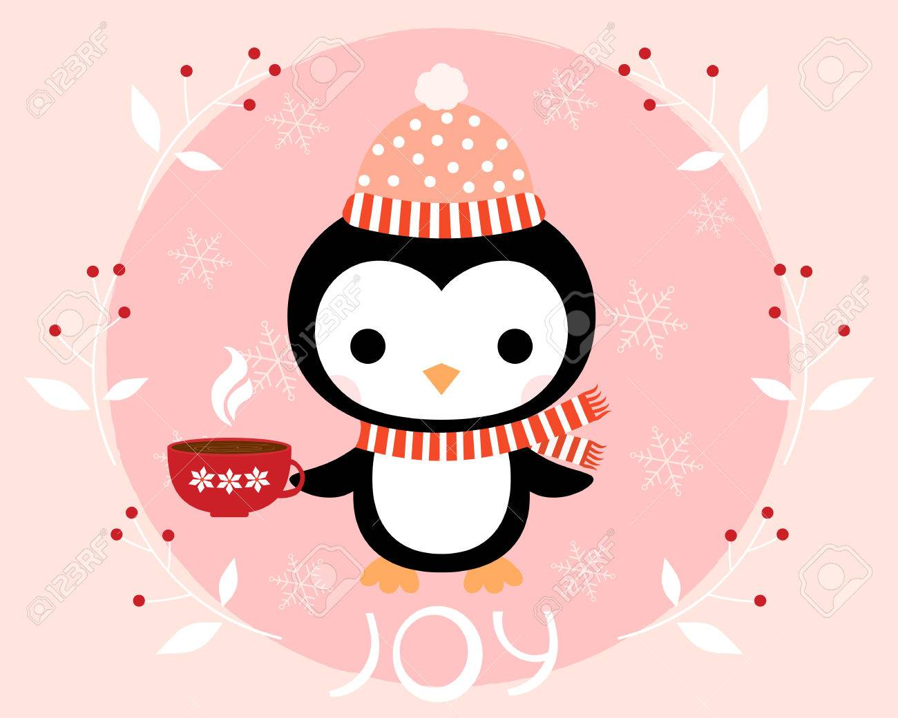 fb3527289f659d Cute winter penguin with a hat, a scarf and a cup of coffee. Christmas