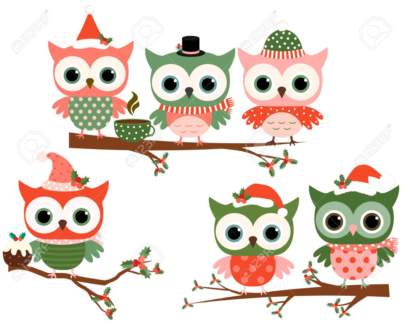 Cute christmas owl characters on tree branches in green and red cute christmas owl characters on tree branches in green and red colors for greeting cards and m4hsunfo