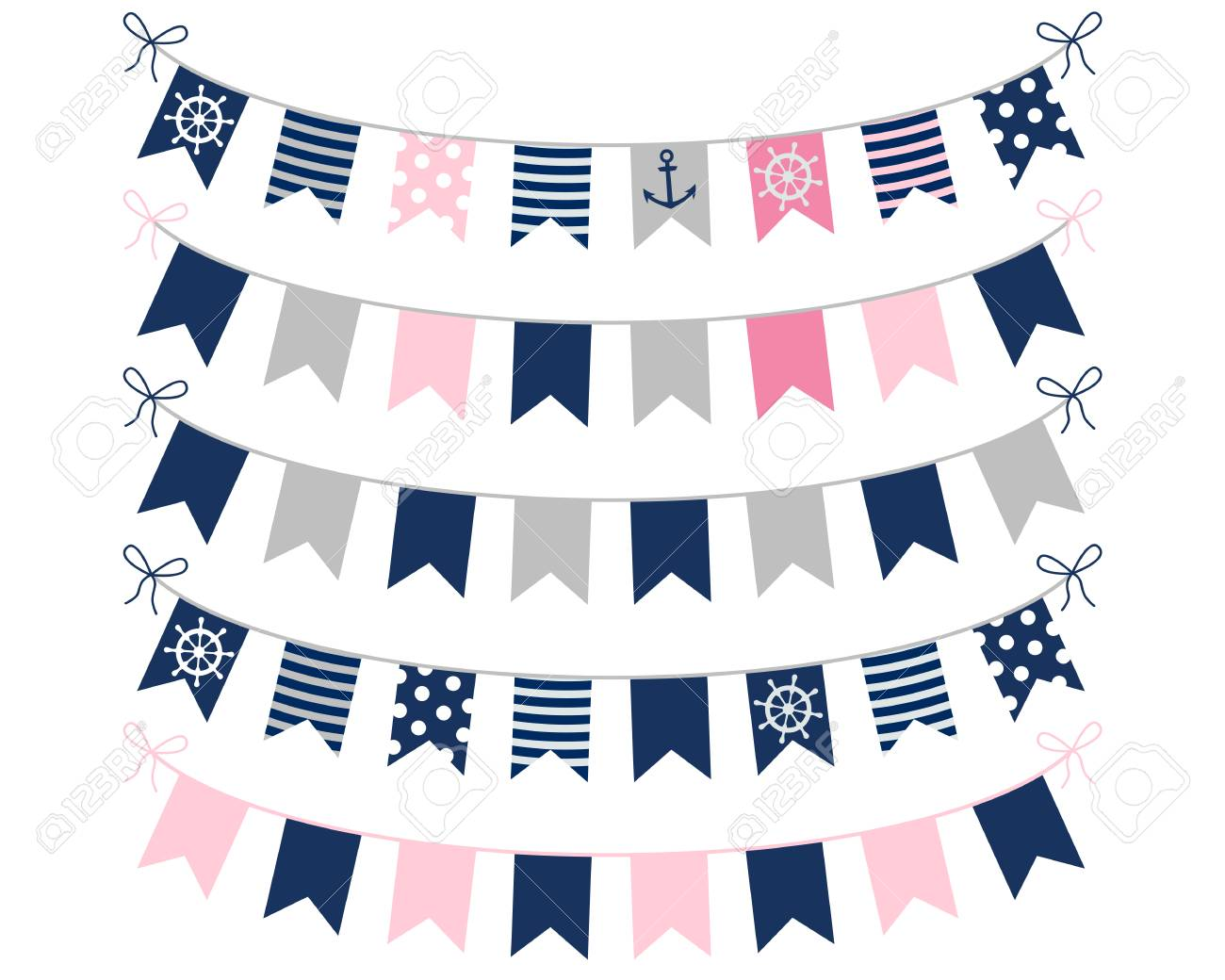 Pink Blue And Grey Nautical Buntings For Girl Birthday Invites