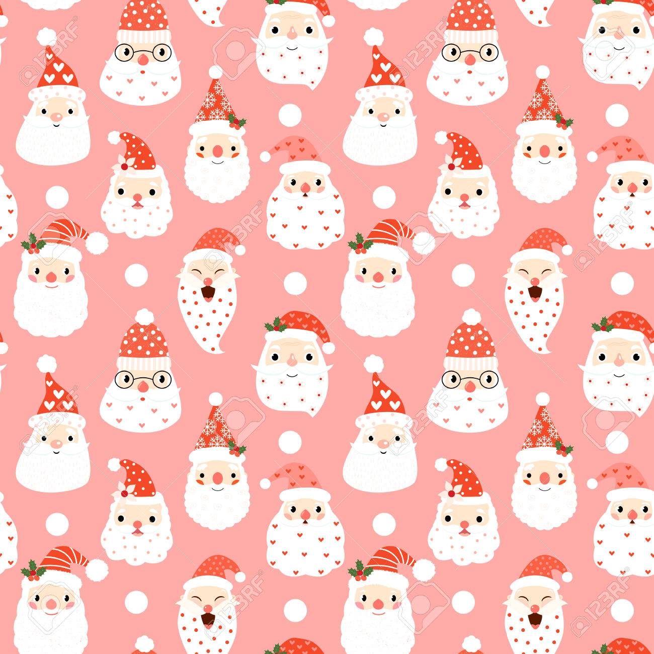 Christmas Designs.Cute Seamless Pattern With Hipster Santa Faces On Pink Background