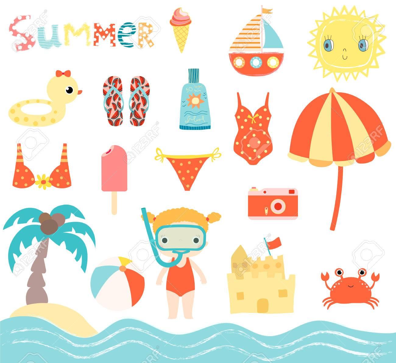 Vector De Playa De Verano Lindo Conjunto Con Nina Con Elementos De