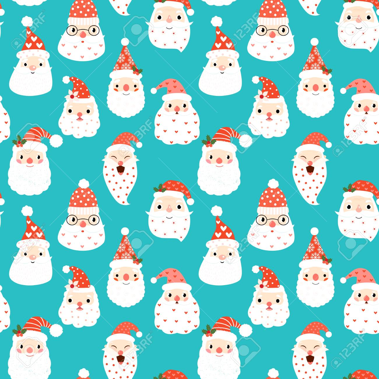 cute seamless pattern with hipster santa heads on blue background for christmas and new year designs
