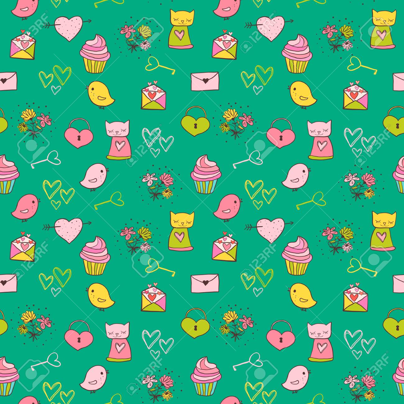 Cute And Colorful Vector Seamless Pattern With Cats Cupcakes For Backgrounds Kid Birthday Invitations
