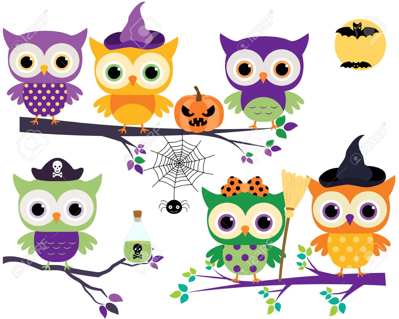 Cute Halloween Owls In Orange Purple And Green Colors On Tree Branches With Broom