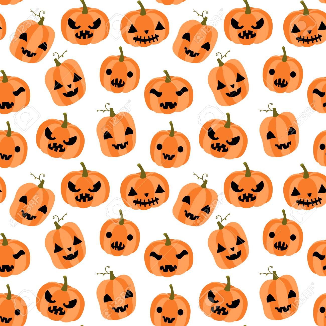Modèle Sans Couture Mignon Et Drôle De Vecteur Pour Halloween Avec Citrouilles Orange De Dessin Animé Avec Des Visages Avec Différentes Expressions