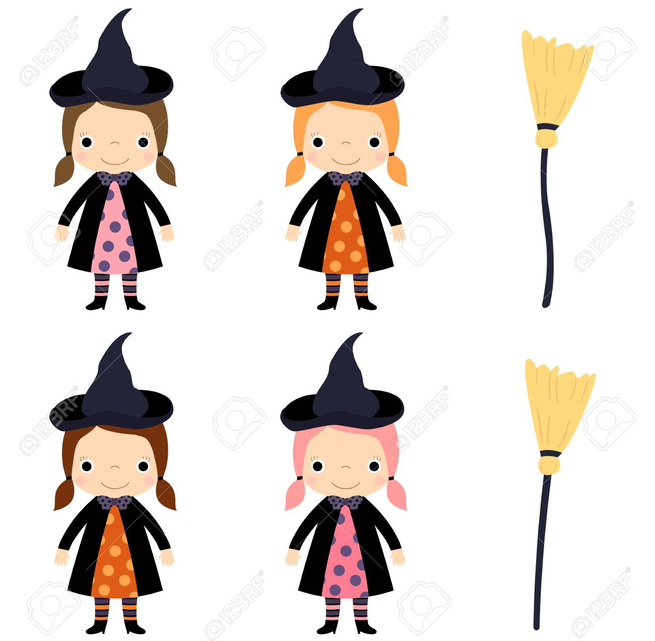Cute Vector Little Girl In Witch Costume With Broom For Halloween