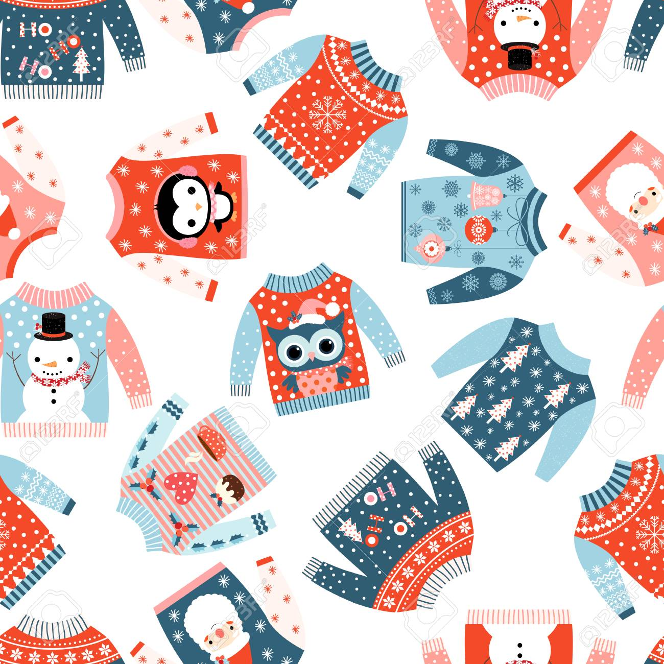 Lindo Vector De Navidad De Patrones Sin Fisuras Con Suéteres Feos ...