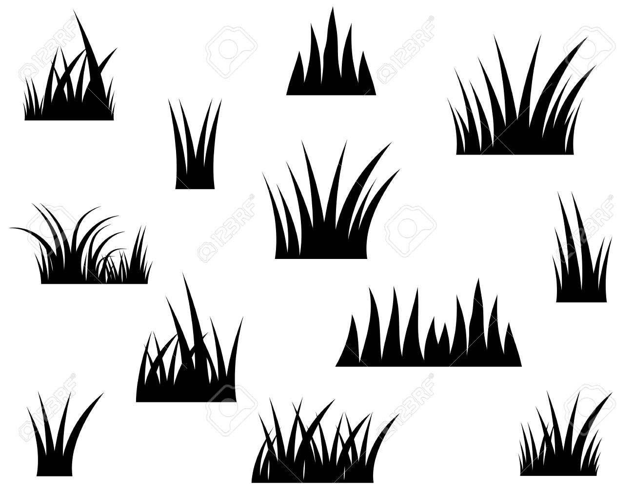 black vector grass silhouette on white background royalty free cliparts vectors and stock illustration image 93339560 123rf com