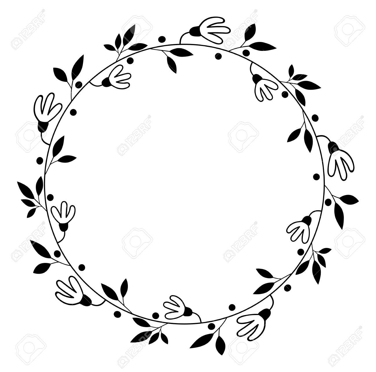 Round Vector Floral Wreath Black Flower Border For Wedding