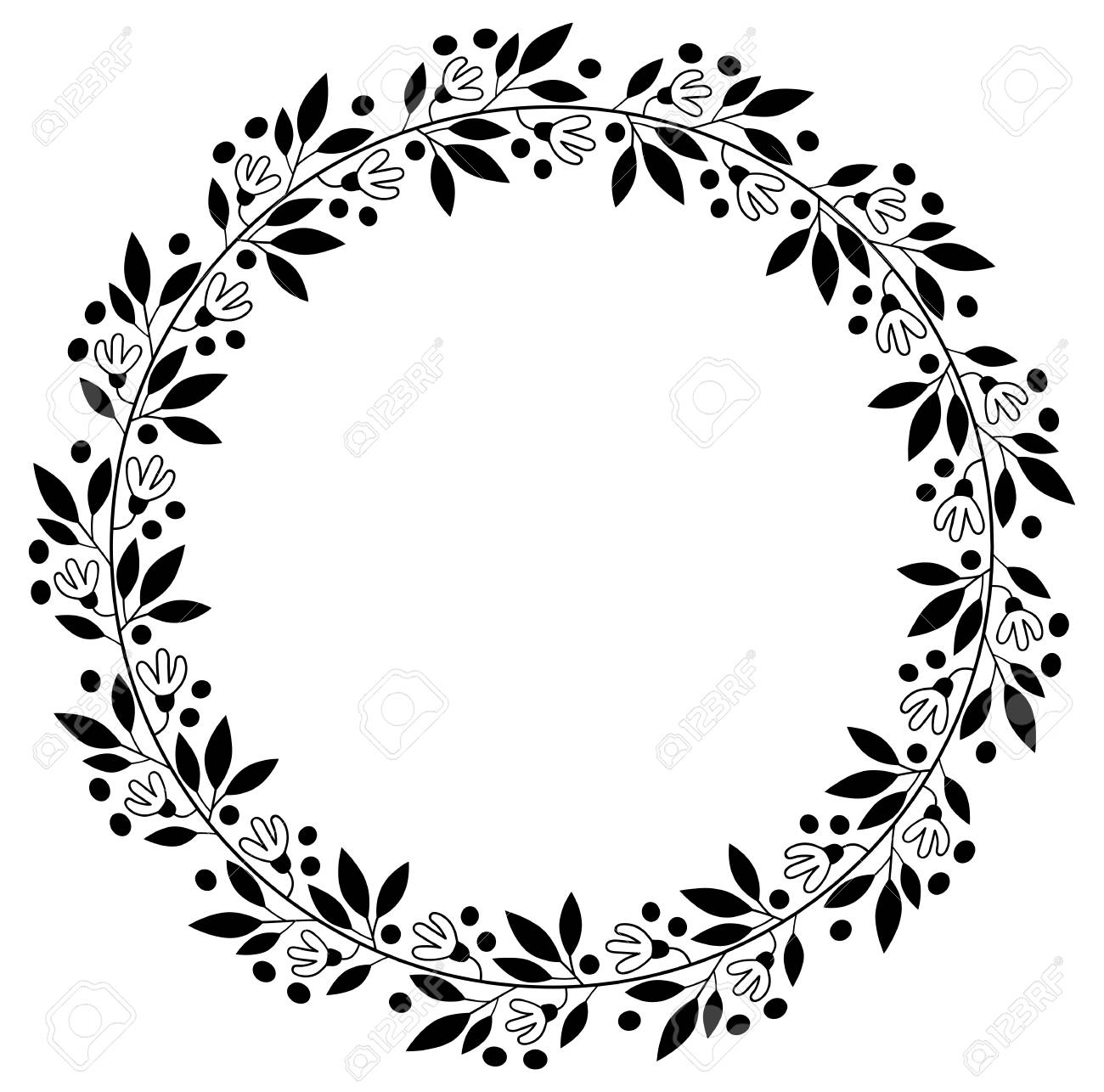 Black floral border for wedding invitations and graphic design black floral border for wedding invitations and graphic design round vector flower wreath stock vector stopboris Images