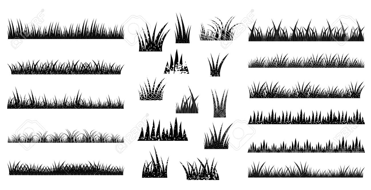 long and short vector tufts of grass in black color with texture royalty free cliparts vectors and stock illustration image 98287396 123rf com