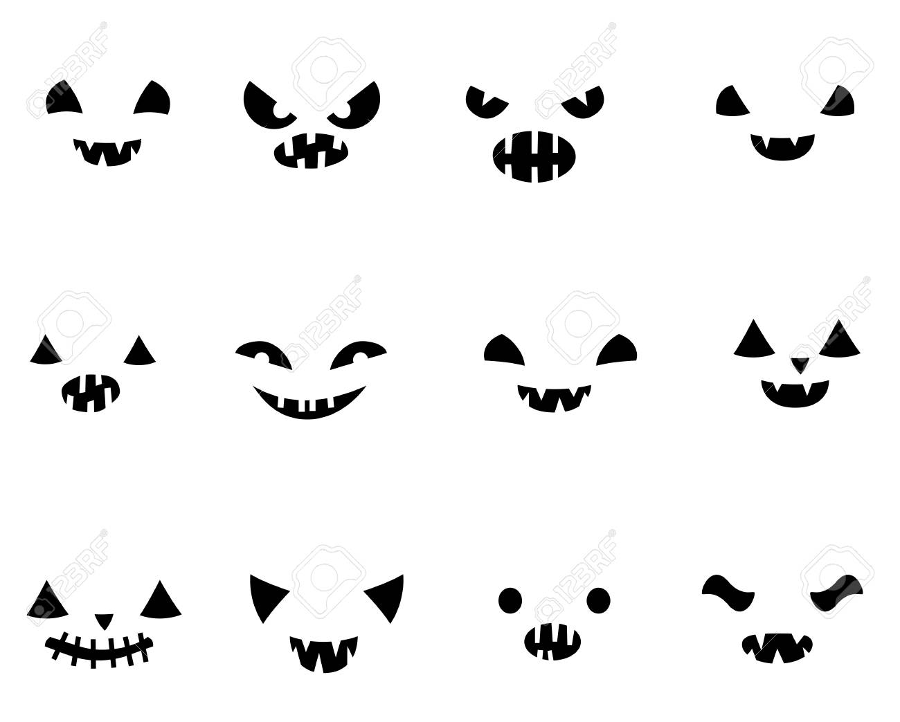 Set with carved Halloween pumpkin faces templates in black and white with different funny expressions - 110737843