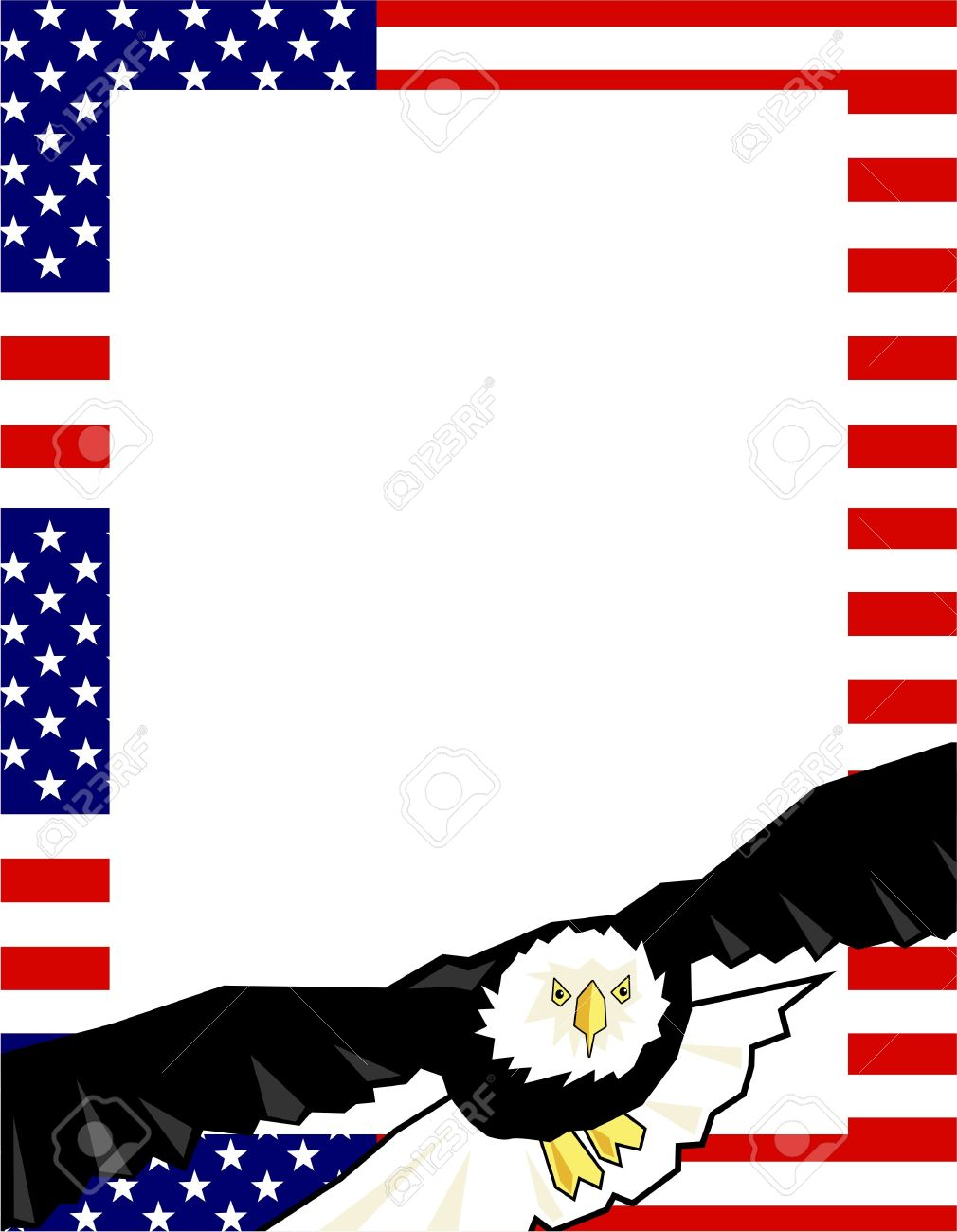 American Flag Border With Bald Eagle Stock Photo, Picture And ...