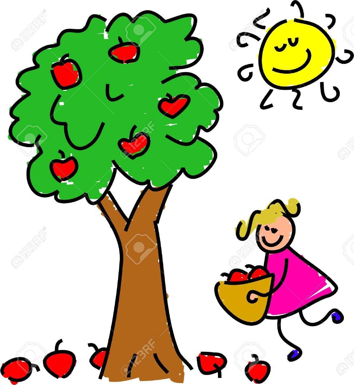 little girl picking apples toddler art series stock photo picture rh 123rf com apple picking clipart free apple picking basket clipart