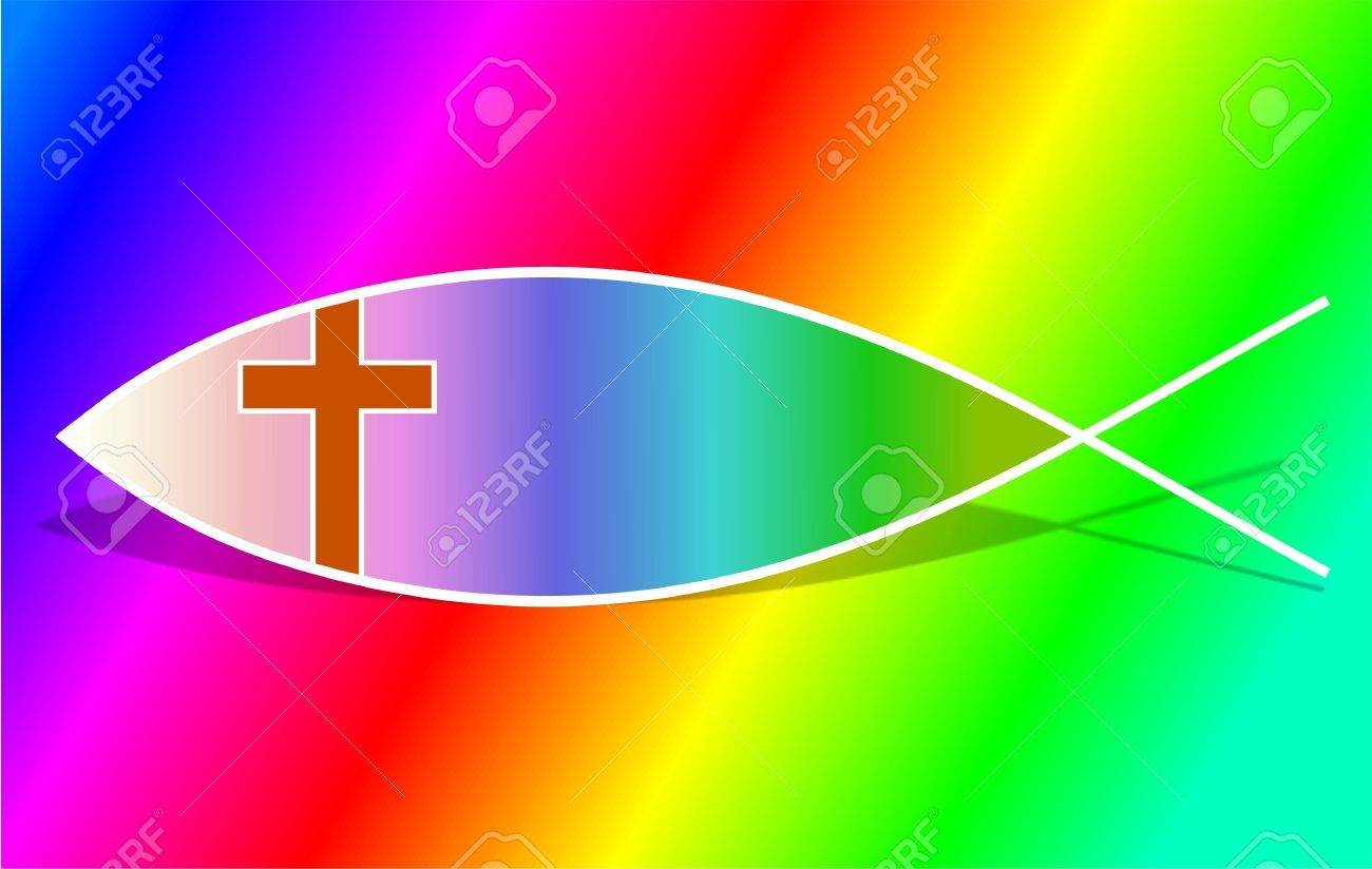 Rainbow christian fish symbol stock photo picture and royalty free rainbow christian fish symbol stock photo 402069 buycottarizona Gallery