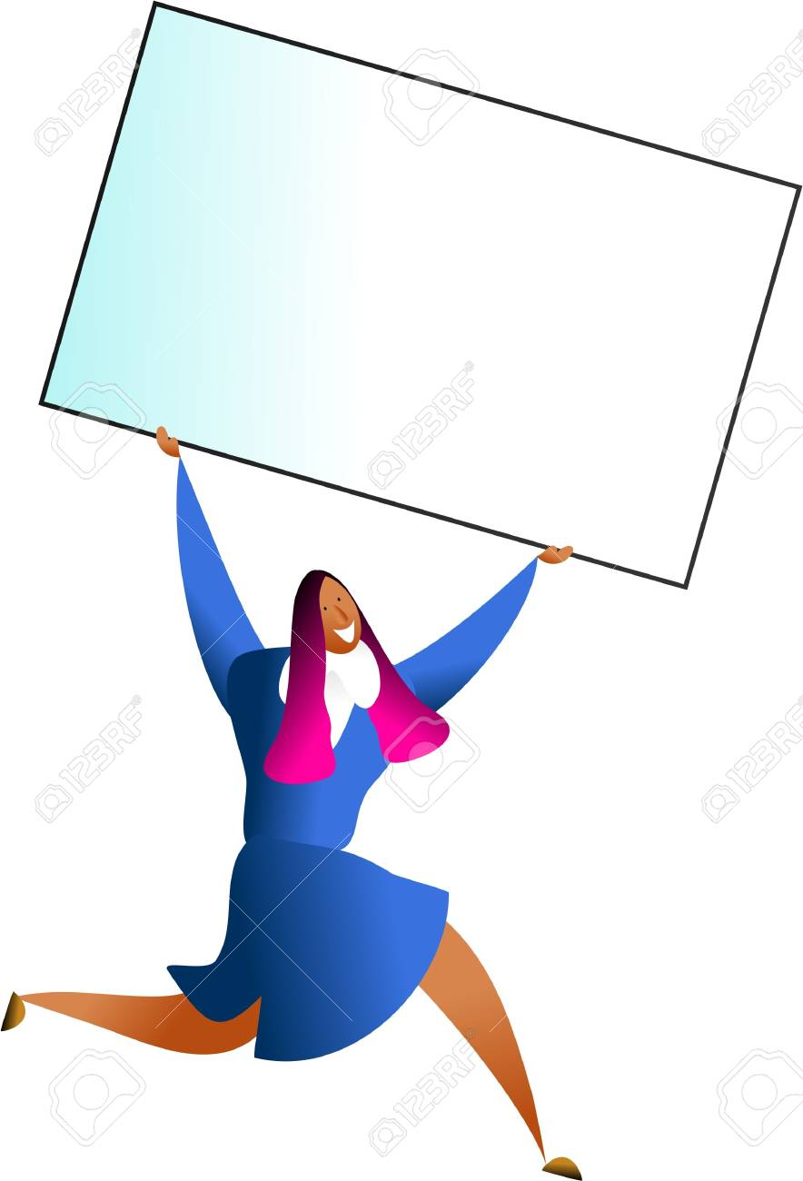 Happy woman carrying giant blank business card just add your happy woman carrying giant blank business card just add your own message stock photo reheart Images
