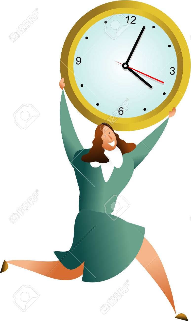 happy business woman carrying office clock - concept illustration Stock Photo - 574846