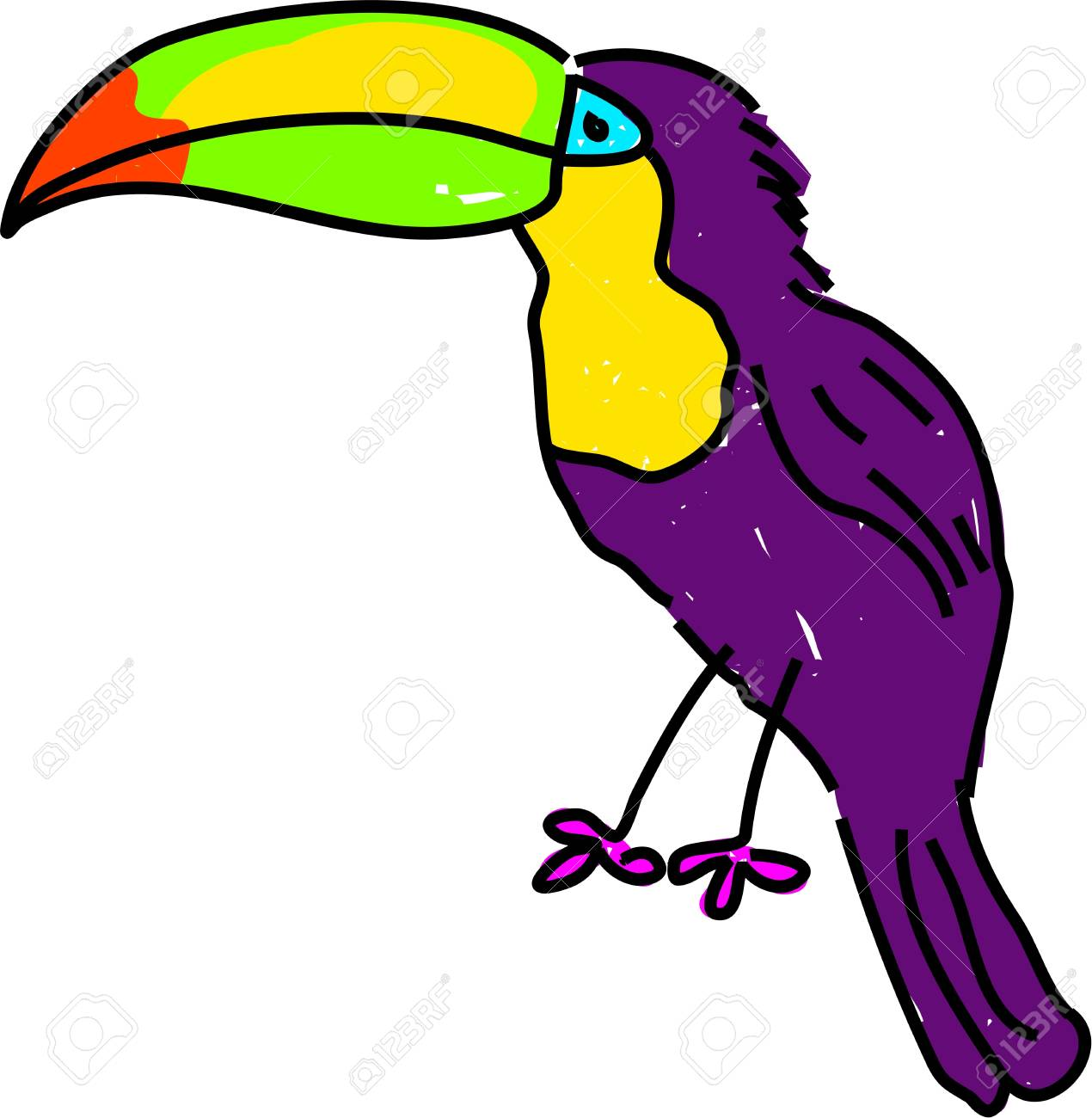 tropical toucan bird isolated on white drawn in toddler art style Stock Photo - 785836
