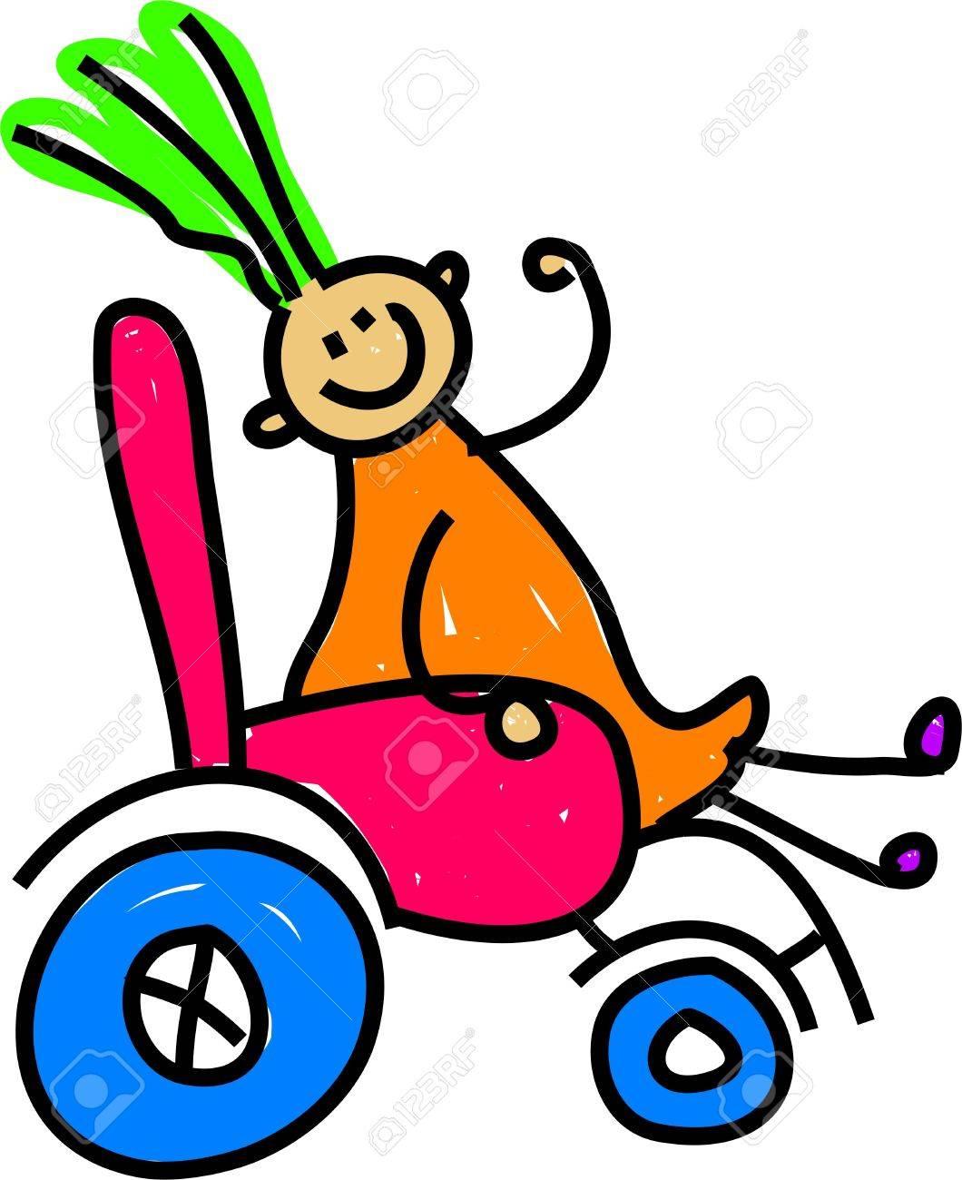 Petite Fille Heureuse Handicapés Assis Dans Un Fauteuil Roulant Art Toddler Série