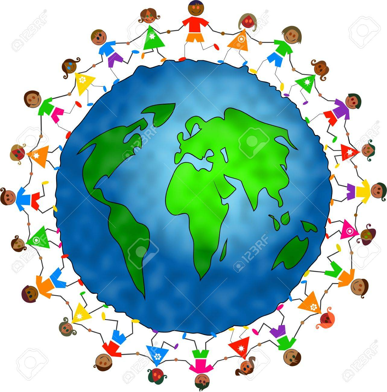 Image result for kids holding hands around the world clip art