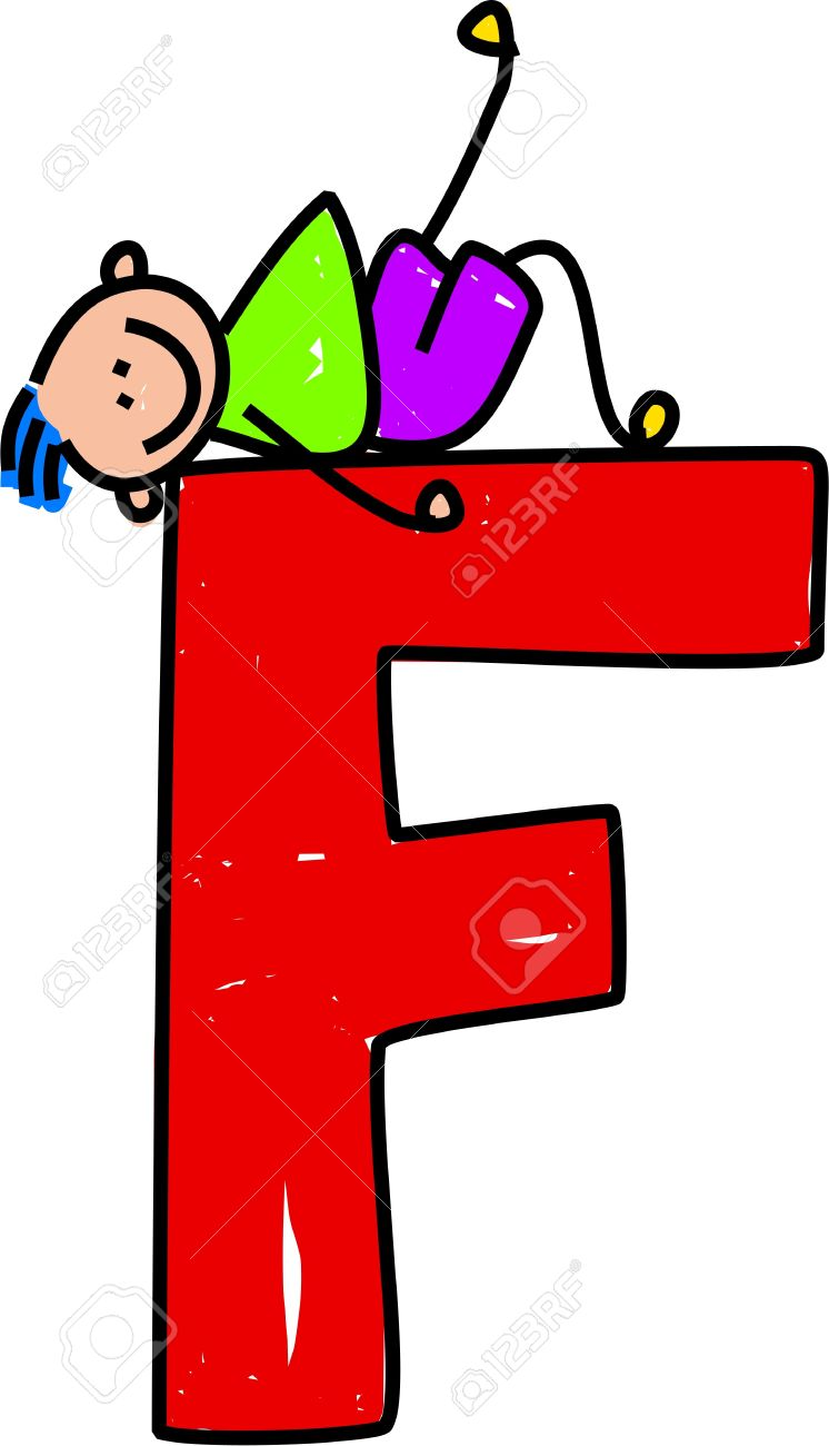 729e78acc happy little boy lounging on a giant letter F - toddler art series Stock  Photo -