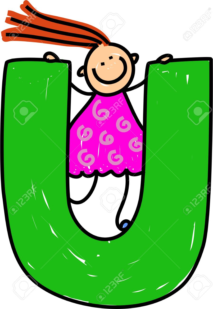 happy little girl climbing over giant letter u isolated on white