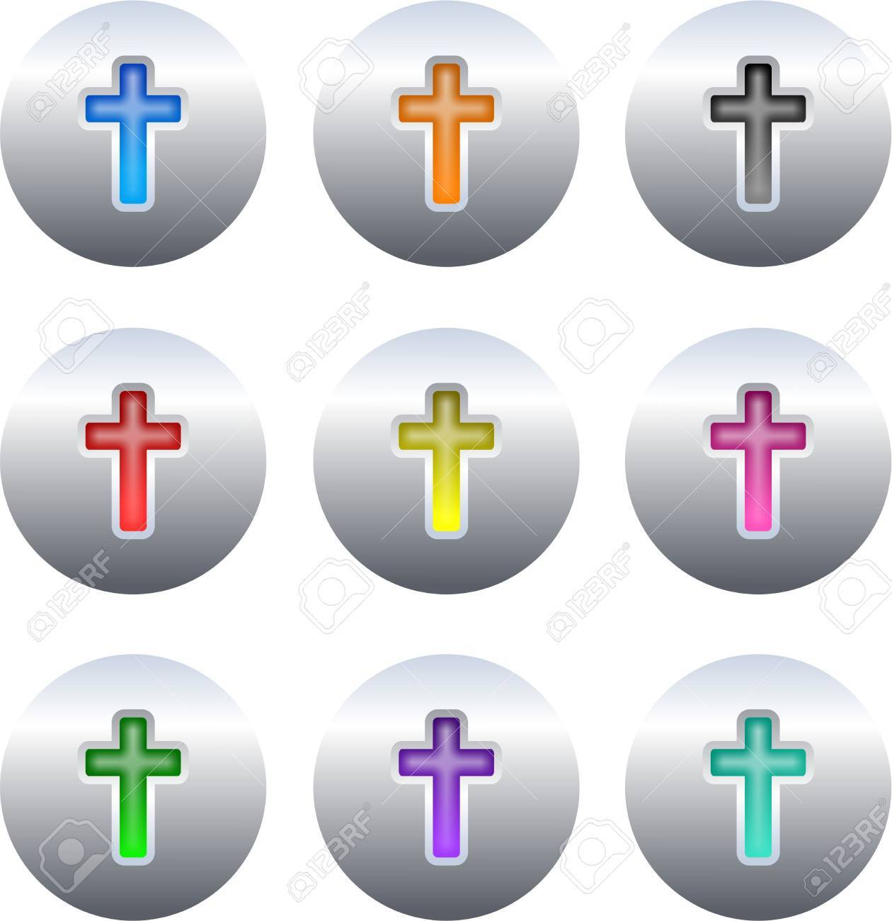 collection of colourful gel cross icons set on silver metallic buttons isolated on white Stock Photo - 2052366