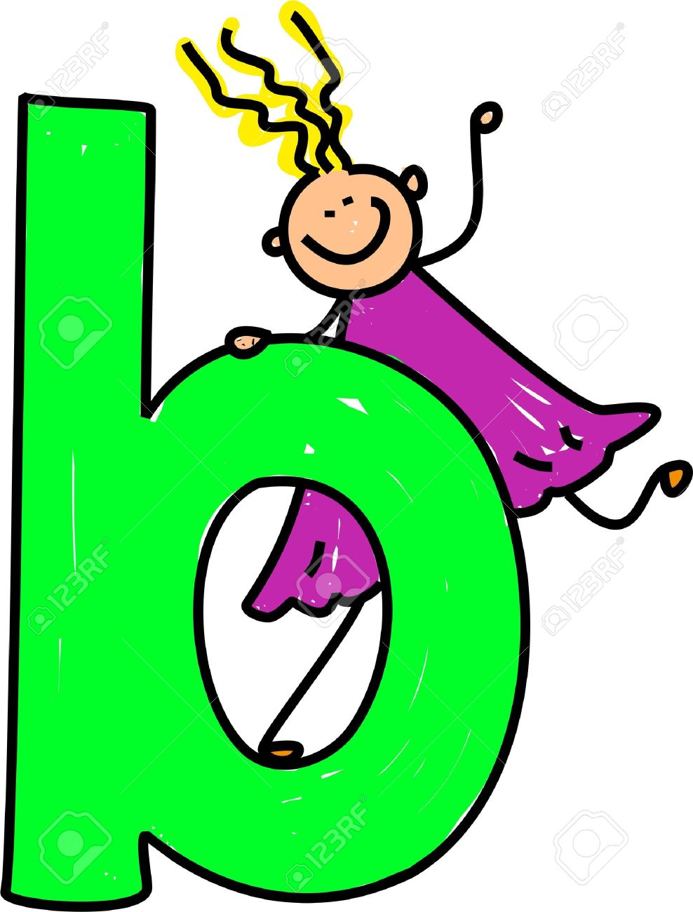 Happy Little Girl Climbing On Giant Letter B Lowercase Version