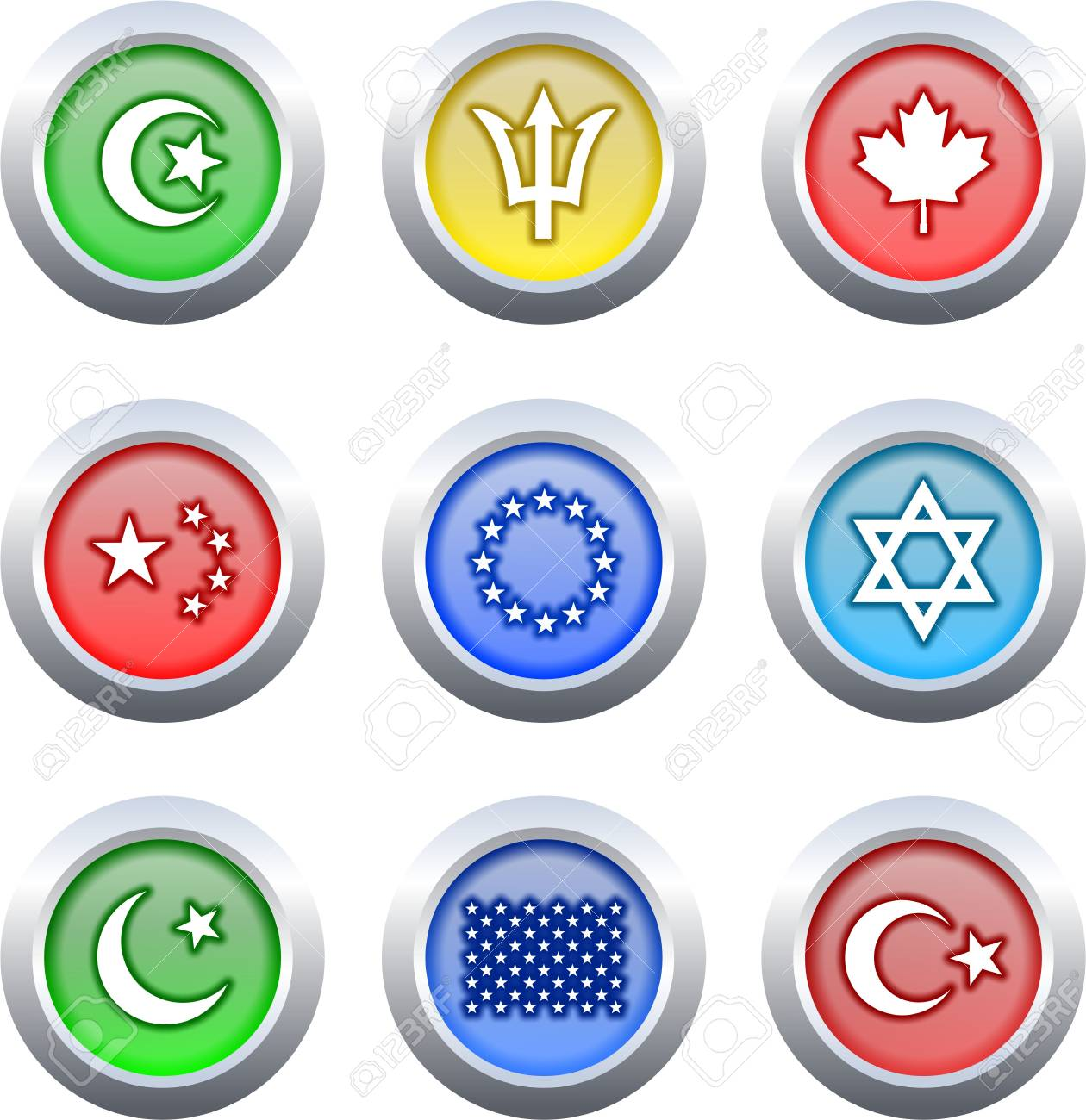 collection of very colourful flag icon buttons isolated on white Stock Photo - 2329043