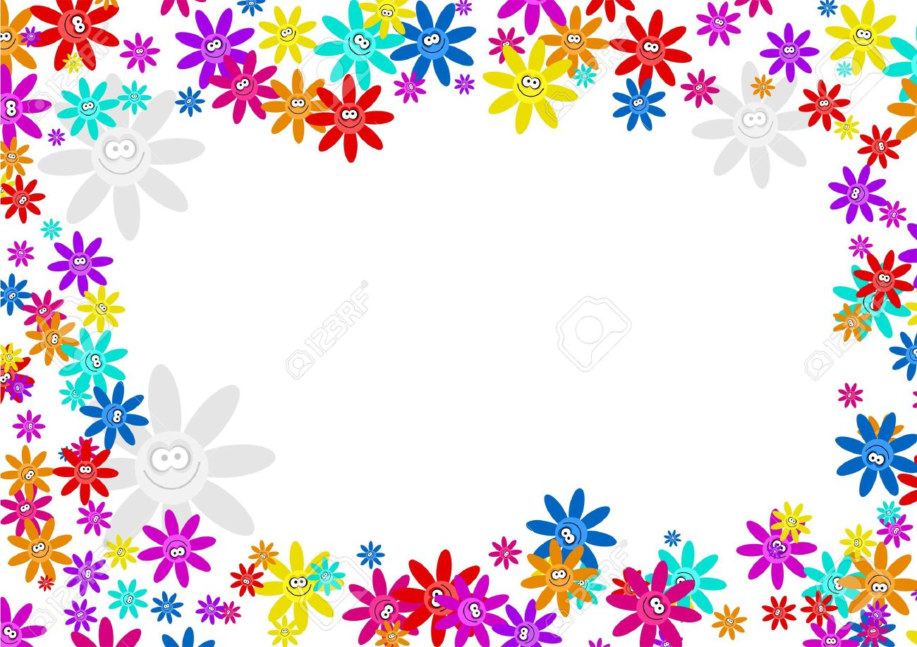 Colourful Decorative Cartoon Floral Flower Frame Border Design